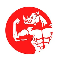 Muscular Rhino Silhouette On Red Circle vector image