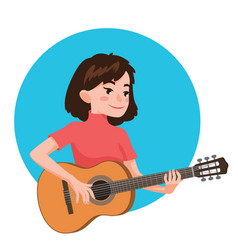 Musician playing guitar girl guitarist is vector