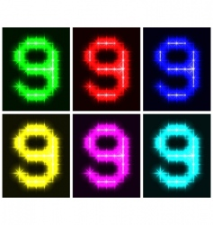 number 9 symbols vector image