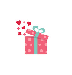 open gift box with fly hearts vector image