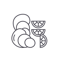 oysters line icon concept oysters linear vector image