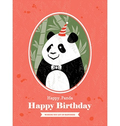 Panda Animal Cartoon Birthday card design vector