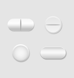 Pill and capsule white round tablet realistic vector