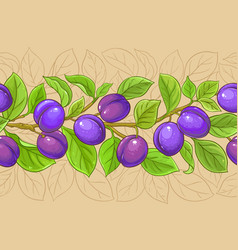 plum branches pattern on color background vector image