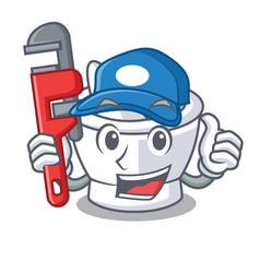 Plumber mortar mascot cartoon style vector