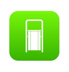 public garbage bin icon digital green vector image
