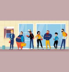 queue atm bank flat vector image