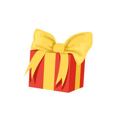 Red gift box with big yellow bow happy birthday vector