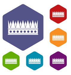 Regal crown icons set hexagon vector