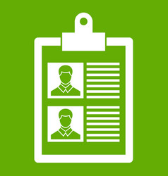 Resume of two candidates icon green vector
