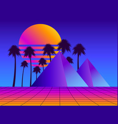 retro futurism pyramids with palm trees vector image