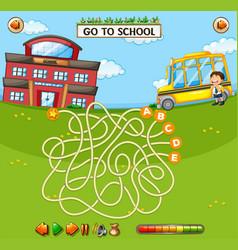 school maze game template vector image