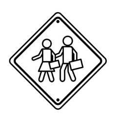 School zone traffic signal information icon vector
