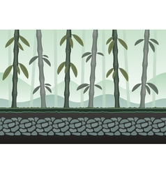 Seamless bamboo landscape for game background vector