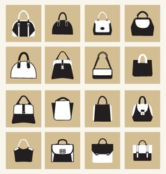 Set icons of fashion women and men handbags vector