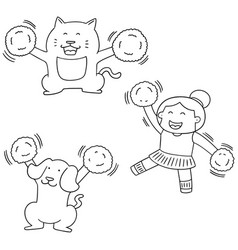 Set of cheerleader dog and cat vector