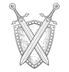 Shield with crossed swords hand drawn sketch vector