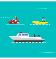 Ship and boats vector image