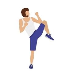 Silhouette color man martial arts kick half-height vector