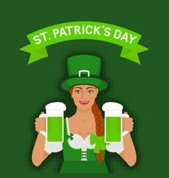 st patricks day greeting card irish girl vector image