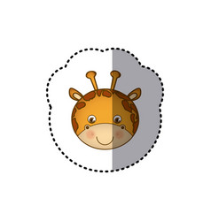 Sticker colorful picture face cute giraffe animal vector