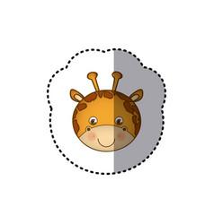 sticker colorful picture face cute giraffe animal vector image