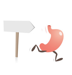 stomach running and direction sign vector image