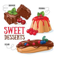 sweet desserts vector image