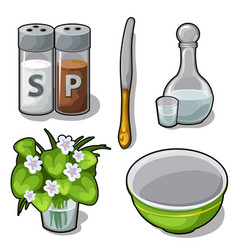 tableware and decorations for the kitchen vector image