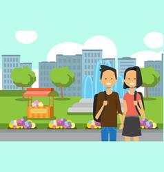 teenager boy girl couple in love portrait avatar vector image