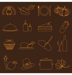 Thanksgiving symbols color outline icons set eps10 vector