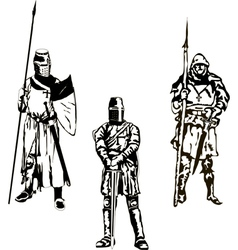 Three Medieval Knights vector image