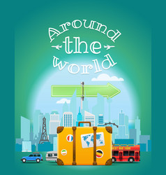 Travel with bag around world vector