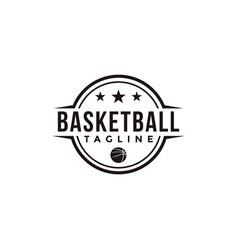 vintage badge emblem basketball sport team club vector image