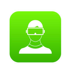 Virtual 3d reality goggles icon digital green vector
