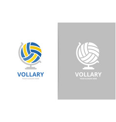volleyball and globe logo combination unique ball vector image
