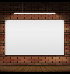 white banner hanging on a red brick wall vector image