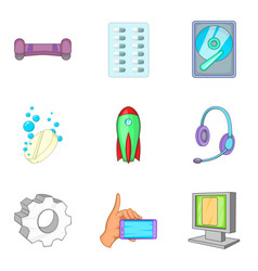 Wireless inventory icons set cartoon style vector