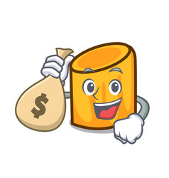 With money bag rigatoni character cartoon style vector