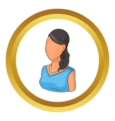 Woman avatar in blue dress icon vector