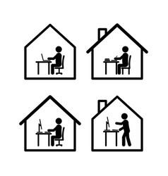 work at home stick man set vector image