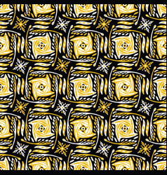 yellow and black abstract doodle grid shapes vector image