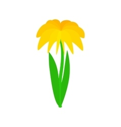 Yellow dahlia icon isometric 3d style vector image