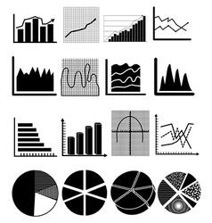 chart graph icons set vector image vector image