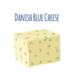 danablu cheese with mould dairy milky product vector image