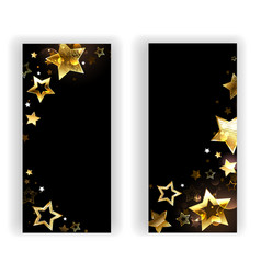 two banners with small gold stars vector image vector image