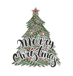 calligraphy lettering Merry Christmas vector image vector image