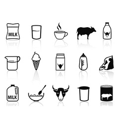 milk product icons set vector image vector image