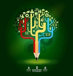 Creative pencil concept growth tree idea modern te vector