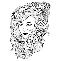doodle woman hand-drawn vector image